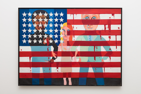 "Faith Ringgold, ""The Flag is Bleeding,"" 1967. On view in Soul of a Nation: Art in the Age of Black Power 1963-1983 at The Broad, 2019. Photo by Pablo Enriquez"