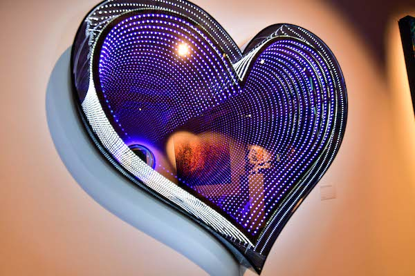 "Emmanuelle Rybojad at HOFA, ""In Love"", 2018, mixed media, mirror, LED and plexiglass."