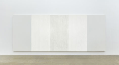 Mary Corse, Untitled (White Inner Band), (2003),96 × 240 in., glass microspheres and acrylic on canvas.