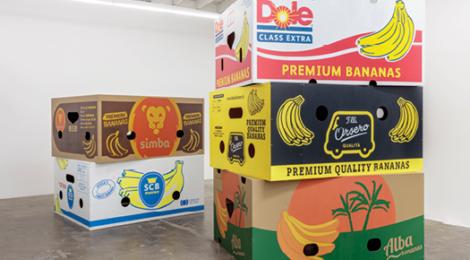 Jebila Okongwu, Five Banana Boxes, 2018, courtesy the artist and Baert Gallery, Los Angeles.,photo by Joshua White—JWPicture